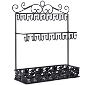 Flat Black Jewelry Holder with Hooks & Tray
